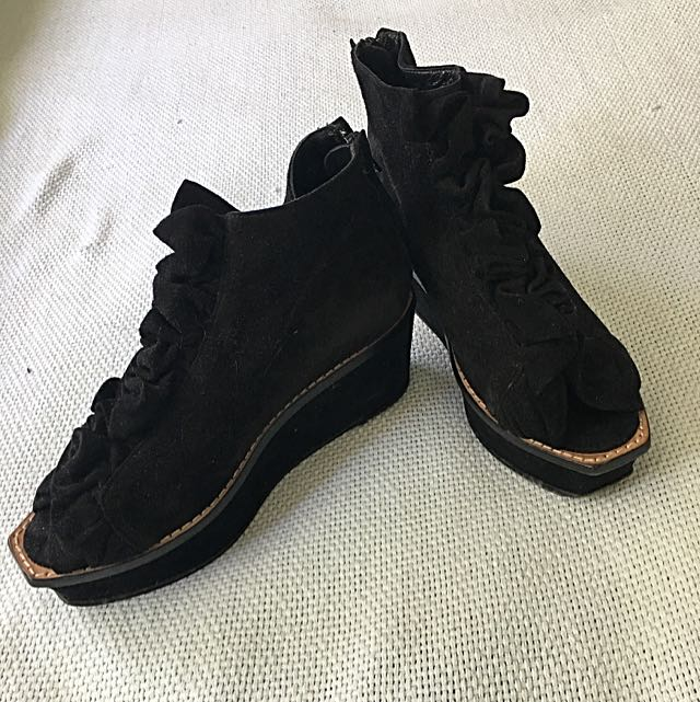 Opening Ceremony Black Suede Wedges