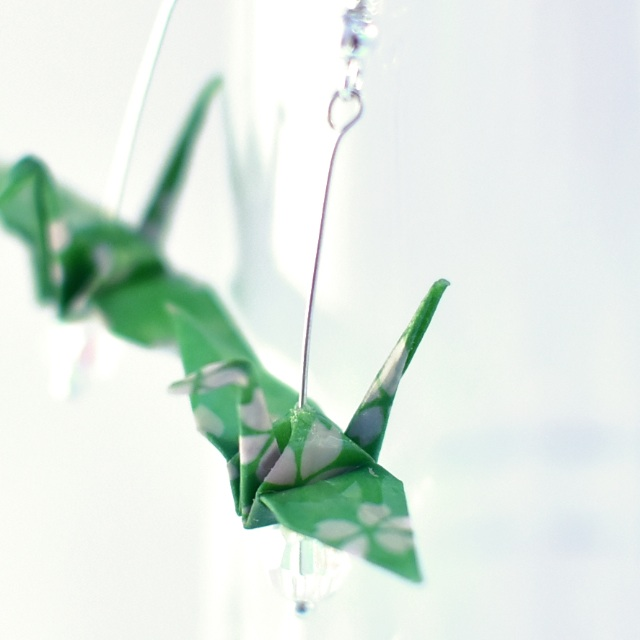 Origami Paper Crane Earrings - 11, traditional, Japanese, jewellery, cherry blossom, sakura, green, pink