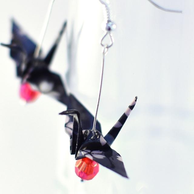 Origami Paper Crane Earrings - 12, traditional, Japanese, jewellery, cherry blossom, sakura, black, red