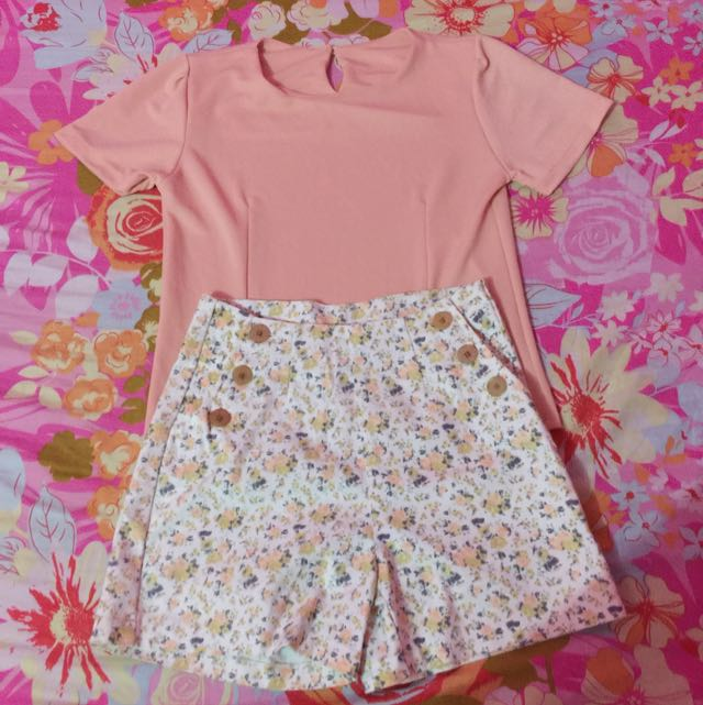 Peach Top And Floral Shorts