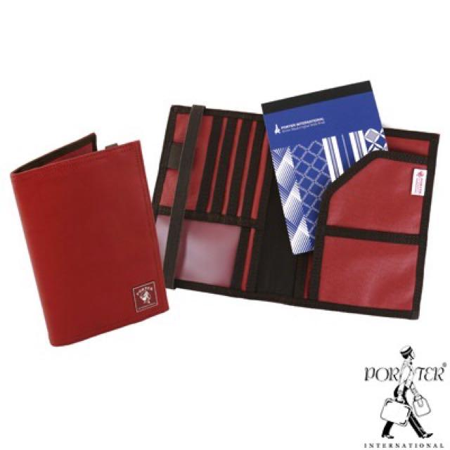 PORTER - 環遊世界旅行護照夾(附筆記本) - 帆布紅