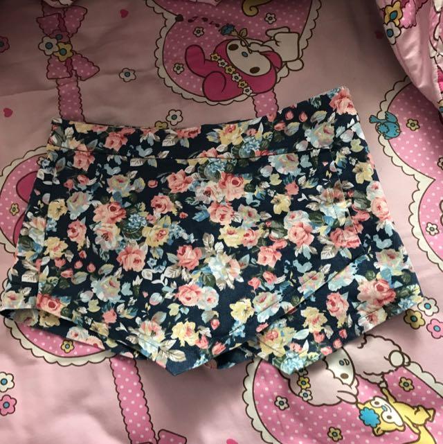 Rok Celana Skort Bunga Jeans