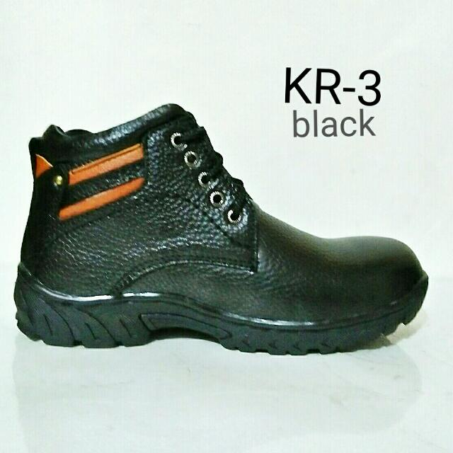 Sepatu Safety  full Kulit  Asli KR.3 - Hitam  Made In Majapahit Indonesia