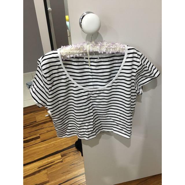 Strip Tee Shirt Crop