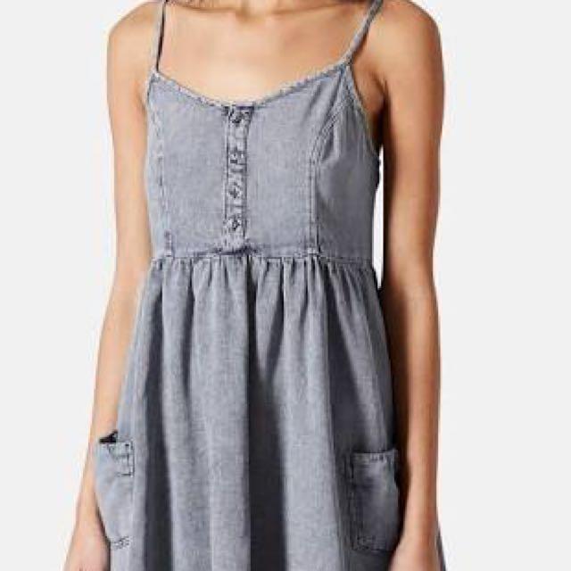 Topshop Babydoll Dress - Stone