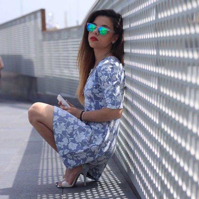 Topshop Blue Floral Dress - Size 8