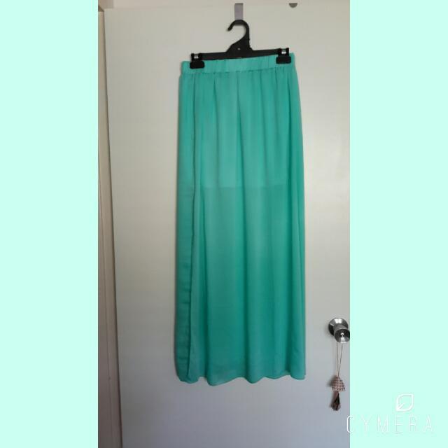 Valley girl Sheer Silk Maxi Split Skirt Size 10