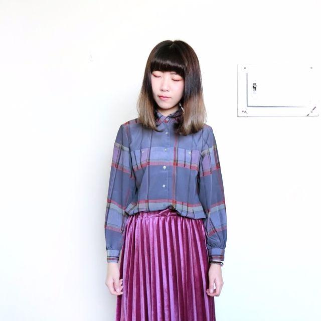 Vintage古著🔹復古灰色格紋長袖襯衫