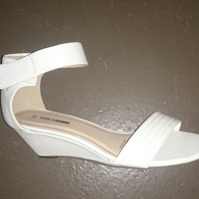 White Wedges Size 9
