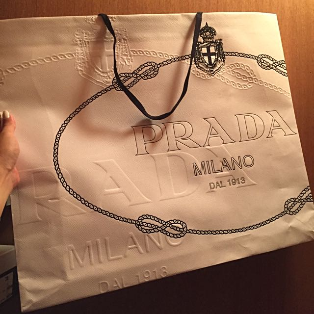 X-Large Prada Embossed Paper Bag White