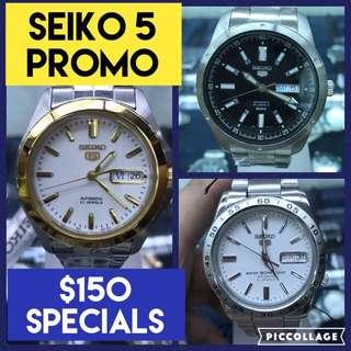 Special $150 Seiko 5 Auto Watches Promo