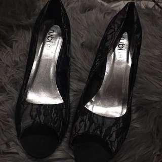 Rubi Black Lace Heels