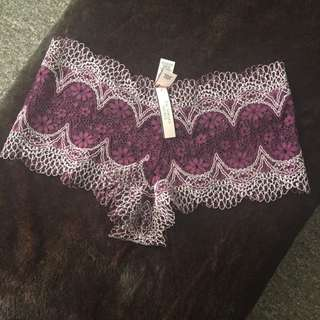 VS- Victoria Secret Cheeky Underwear/Lingerie - Burgundy/Cream- Small