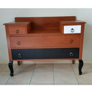 REDUCED MUST GO!! Unique & Funky 4 Drawer Vintage Dresser / Hall Table