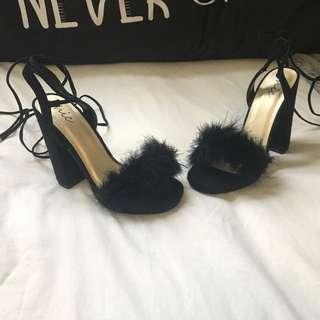 Black Feather Platform Heels Lace Up