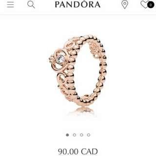 Rose Gold Princess Pandora Ring