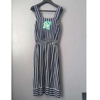 Vintage, Blue and White Vertical Striped Sun Dress