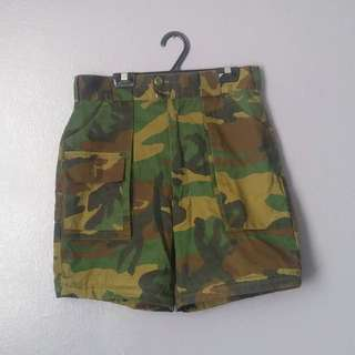 Vintage High-Rise Camoflage Shorts