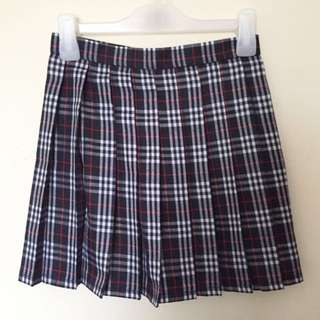 Navy Plaid Pleated Skirt