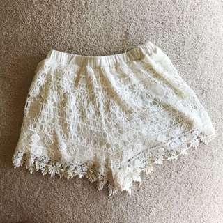 White Soft Crochet Shorts