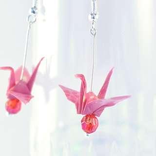 Origami Paper Crane Earrings - 13, traditional, Japanese, jewellery, cherry blossom, sakura, pink, red