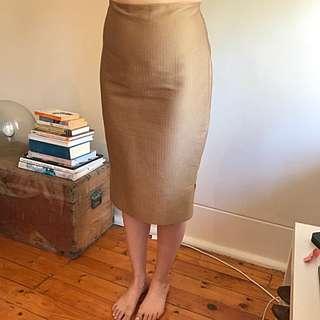 Scanlan Theodore Metallic Gold Pencil Skirt