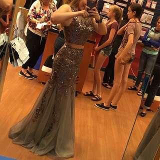 DESIGNER-2 Piece JOVANI silver Sequin Prom Dress
