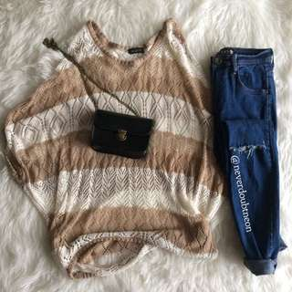 Oversized light brown knitted top