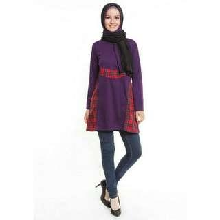 Baju Muslim Purple Accent Tunic Pashmina Purple