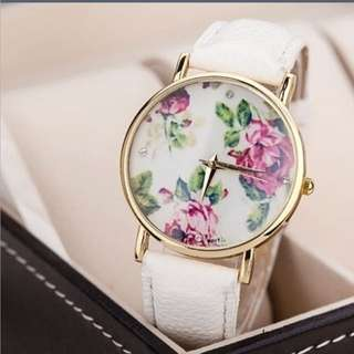 Geneva Leather Rose Watch
