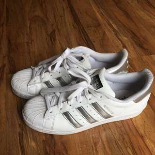 Silver And White Adidas Superstars