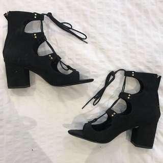 Zara Lace Up Black Studded Suede Sandals