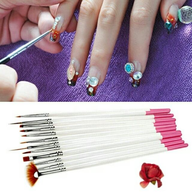 12x Nail Art Polish Painting Draw Pens Brush Tips Tools Set UV Gel ...