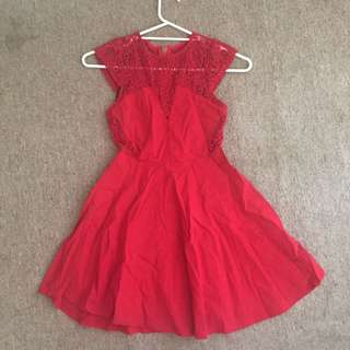 Never Say Never Cute Red Lace Detail Cut Out Skater Dress