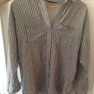 Linen Crossed Open Back Shirt