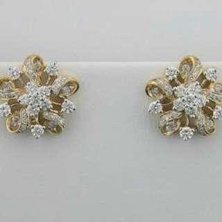 Diamond And Gold Earings