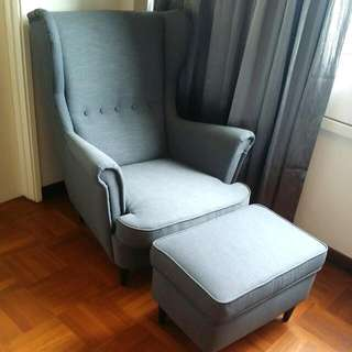 Hardly Ever Been Sat On. A Beautiful grey Armchair And Matching Stool. Pristine Condition.