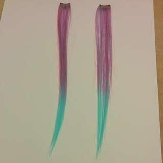 Pink And Blue Clip-in Hair Extensions