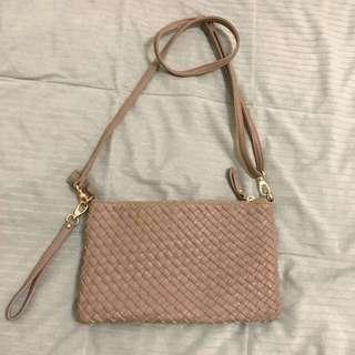 Net 編織包 藕粉色 斜背包 手拿包
