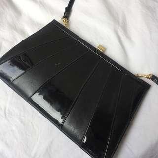 Original 80's Patent Stripped Vintage Shoulder Bag