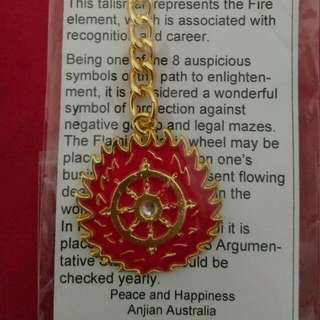 Brand New Flaming Magic Buddhist Wheel Keychain