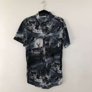 CRATE LONG LINE WOLF PRINTED SHIRT SIZE L