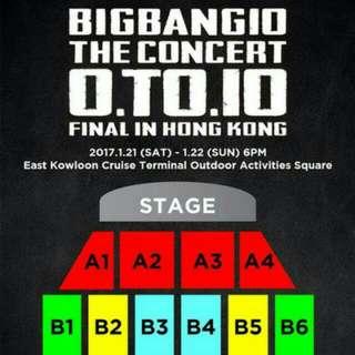 徵求big bang香港演唱會$688票.共2張(合理價)