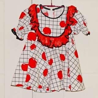 Apple Print Mini Dress With Ruffles