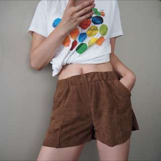 Suede Shorts In Brown