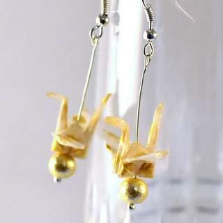 Origami Earrings - 16, paper cranes, traditional, Japanese, jewellery, plum, polka dots, gold, cotton pearls