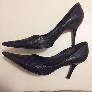 Black Snakeskin Pointed Stilettos - Janylin Size US 6.0