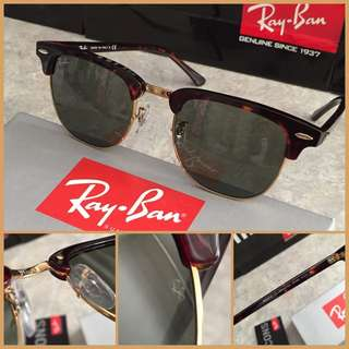 Authentic RAYBAN Clubmaster Tortoise/Gold Frame 51mm