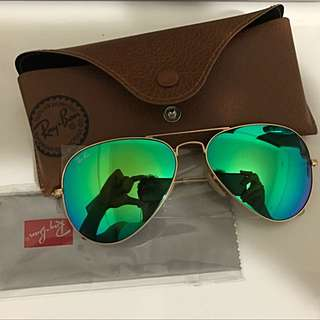 New Ray Ban RB3025 Aviator Green/Gold