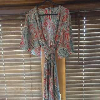 White Closet Wrap Dress, Paisley Print Size 10